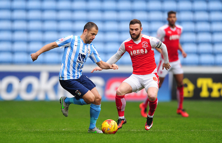 Coventry City's Joe Cole vies for possession with Fleetwood Town's Jimmy Ryan<br /> <br /> Photographer Chris Vaughan/CameraSport<br /> <br /> Football - The Football League Sky Bet League One - Coventry City v Fleetwood Town - Saturday 27th February 2016 - Ricoh Stadium - Coventry   <br /> <br /> &copy; CameraSport - 43 Linden Ave. Countesthorpe. Leicester. England. LE8 5PG - Tel: +44 (0) 116 277 4147 - admin@camerasport.com - www.camerasport.com