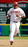 11 April 2006: Marlon Byrd, outfielder for the Washington Nationals, on the basepath during the Nationals' Home Opener against the New York Mets in Washington, DC. The Mets defeated the Nationals 7-1 to start the 2006 season at RFK Stadium...Mandatory Photo Credit: Ed Wolfstein Photo..