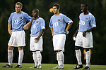 North Carolina starters Ben Hunter (11), Corey Ashe (15), David Boole (17), and Andre Sherard (20) on Tuesday October 4th, 2005 at Fetzer Field on the campus of the University of North Carolina Chapel Hill in Chapel Hill, North Carolina. The UNC Tarheels defeated the Elon University Phoenix 2-1 after overtime in an NCAA Division I Men's Soccer game.