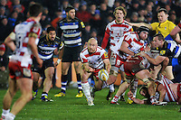 Willi Heinz of Gloucester Rugby passes the ball. Aviva Premiership match, between Bath Rugby and Gloucester Rugby on February 5, 2016 at the Recreation Ground in Bath, England. Photo by: Patrick Khachfe / Onside Images