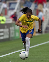 Brazilian defender Maurine (6) dribbles down the wing. In an international friendly, Canada defeated Brasil, 2-1, at Gillette Stadium on March 24, 2012.