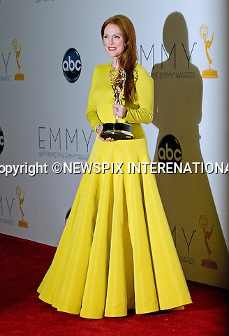 """JULIANNE MOORE(Game Change) - 64TH PRIME TIME EMMY AWARDS.Nokia Theatre Live, Los Angelees_23/09/2012.Mandatory Credit Photo: ©Dias/NEWSPIX INTERNATIONAL..**ALL FEES PAYABLE TO: """"NEWSPIX INTERNATIONAL""""**..IMMEDIATE CONFIRMATION OF USAGE REQUIRED:.Newspix International, 31 Chinnery Hill, Bishop's Stortford, ENGLAND CM23 3PS.Tel:+441279 324672  ; Fax: +441279656877.Mobile:  07775681153.e-mail: info@newspixinternational.co.uk"""