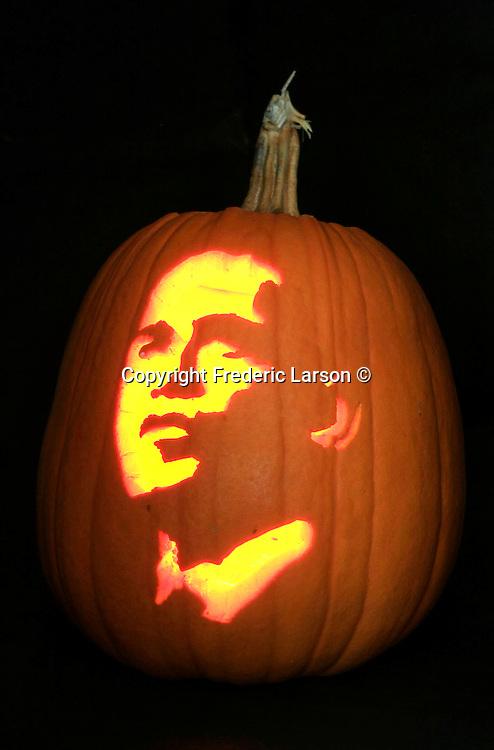 Suzanne McLennan of Mill Valley display her Barack Obama Jackolantern for halloween.