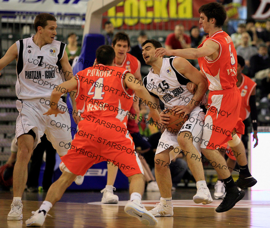 Sport Kosarka Basketball NLB Jadranska Liga Final 4 Ljubljana Slovenija Hemofarm Vrsac Partizan Kecman Vitkovac 26.4.2008. (credit image © photo: Pedja Milosavljevic)