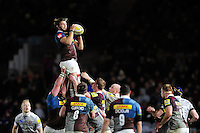 Luke Wallace of Harlequins wins the ball at a lineout. Aviva Premiership match, between Harlequins and Bath Rugby on November 27, 2016 at the Twickenham Stoop in London, England. Photo by: Patrick Khachfe / Onside Images