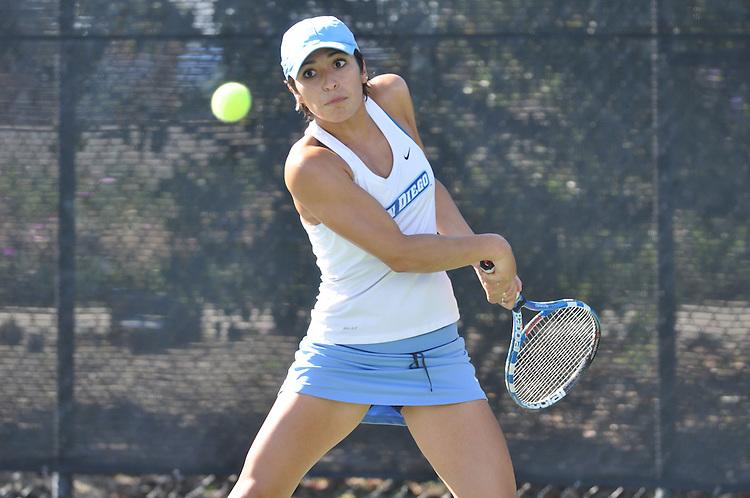April 26, 2012; San Diego, CA, USA; San Diego Toreros athlete Stephanie Hoffpauir during the WCC Tennis Championships at the Barnes Tennis Center.