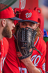 6 August 2016: Washington Nationals outfielder Jayson Werth covers his mouth as he chats in the dugout prior to a game against the San Francisco Giants at Nationals Park in Washington, DC. The Giants defeated the Nationals 7-1 to even their series at one game apiece. Mandatory Credit: Ed Wolfstein Photo *** RAW (NEF) Image File Available ***