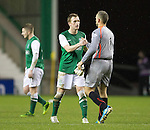 Hibs v St Johnstone....21.12.13    SPFL<br /> Liam Craig and Alan Mannus at full time<br /> Picture by Graeme Hart.<br /> Copyright Perthshire Picture Agency<br /> Tel: 01738 623350  Mobile: 07990 594431