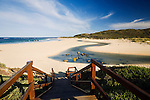 A path leads down to the mouth of the Margaret River, West Australia, AUSTRALIA.