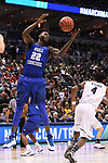 MILWAUKEE, WI - MARCH 18: Middle Tennessee Blue Raiders forward JaCorey Williams (22) pulls down a rebound during the second half of the 2017 NCAA Men's Basketball Tournament held at BMO Harris Bradley Center on March 18, 2017 in Milwaukee, Wisconsin. (Photo by Jamie Schwaberow/NCAA Photos via Getty Images)