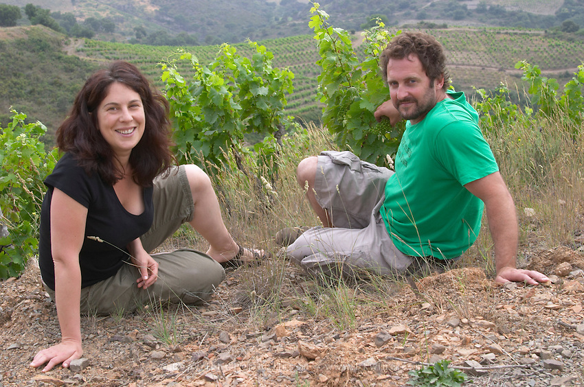 Tom Lubbe, owner winemaker, and his wife Nathalie in their vineyards. Domaine Matassa, Calces, Roussillon, France