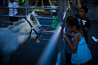Children try to touch a pony while they attend the National Night Out festivities in Union City, New Jersey, Aug 6, 2013. Photo by Eduardo Munoz Alvarez / VIEWpress.