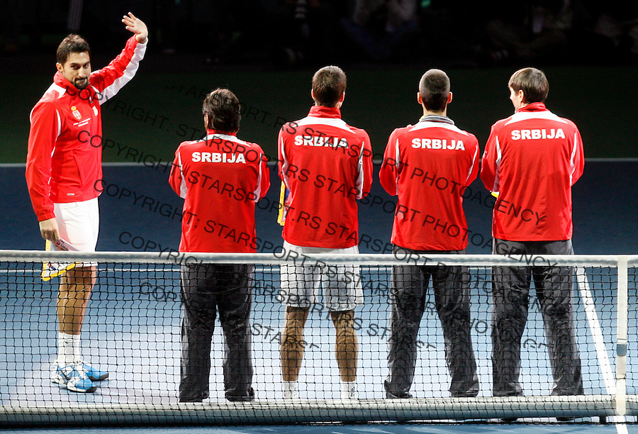 Serbian Davis Cup team player Nenad Zimonic (L) before dubles match against Michael Llodra and Arnaud Clement of France , Davis Cup finals, Serbia vs France in Belgrade Arena in Belgrade, Serbia, Saturday, 4. December 2010. (credit & photo: Pedja Milosavljevic/SIPA PRESS)