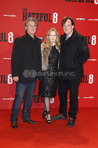 Kurt Russell, Jennifer Jason Leigh and Quentin Tarantino attending the The Hateful 8 premiere held at Zoo Palast, Berlin, Germany, 26.01.2016. <br /> Photo by Christopher Tamcke/insight media /MediaPunch ***FOR USA ONLY***