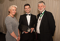 The Nottinghamshire Law Society Junior Lawyer of the Year   Adam Smith (centre)was presented by Claire Dickerson of Blusource Legal<br /> and Society President Richard Nelson