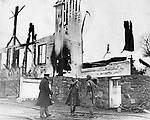 The 96 year-old Middlebury Congregational Church at the time that four Waterbury, one Naugatuck, and the Middlebury volunteer fire companies reached the site. Shown at left is Fire Marshall Dennis J. Lahey; center is Fire Captain Martin Campion and left is believed to be a Middlebury volunteer firefighter. 8 April 1935