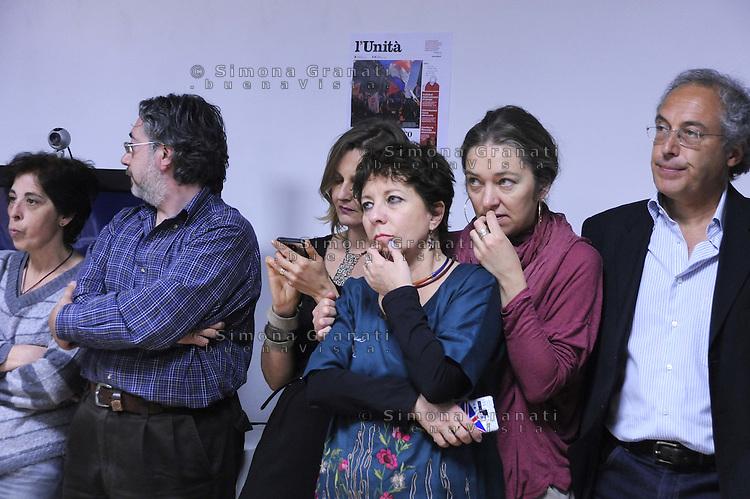 Roma, 5 Maggio 2012.Redazione del quotidiano l'Unità.presentazione del nuovo formato del giornale in edicola da 7 Maggio.