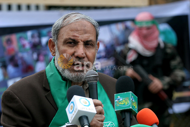 A Palestinian Hamas leader, Mahmoud al-Zahar delivers speech during a rally marking the 2nd anniversary of Israeli war on Gaza Strip, in Gaza City on January 1, 2011. Photo by Mohammed Asad