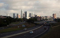 New Condo Development dominates the Austin Skyline from Interstate Highway I-35 in downtown South Austin, Texas, USA