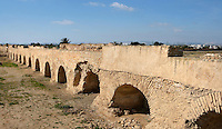 """General view of the Roman Acqueduct of Zaghouan, Carthage, Tunisia, pictured on January 30, 2008, in the morning. Carthage was founded in 814 BC by the Phoenicians who fought three Punic Wars against the Romans over this immensely important Mediterranean harbour. The Romans finally conquered the city in 146 BC. Subsequently it was conquered by the Vandals and the Byzantine Empire. Today it is a UNESCO World Heritage. The aqueduct was built in the 2nd century AD, during the reign of the emperor Hadrian and supplied the nearby cisterns (""""Citernes de la Malga""""). Picture by Manuel Cohen."""
