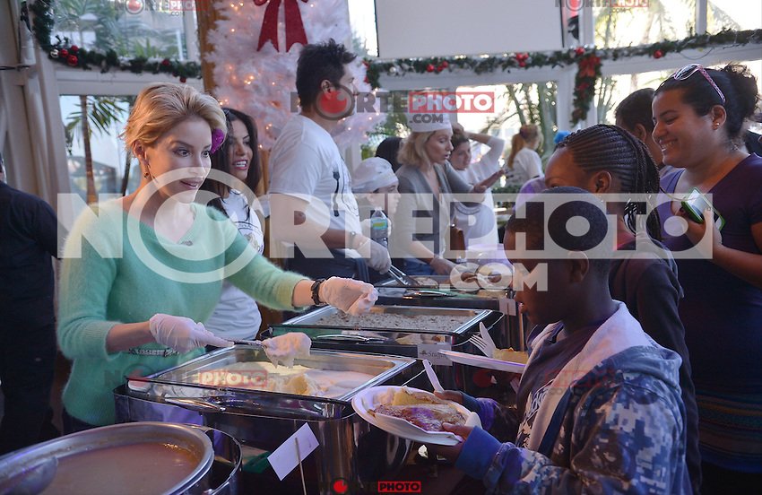 MIAMI, FL - NOVEMBER 22: Lynn Martinez and Louis Aguirre participate in 5th Annual Thanksgiving Feed A Friend at Bongos Cuban Cafe on November 22, 2012 in Miami, Florida. © MPI10/MediaPunch Inc /NortePhoto