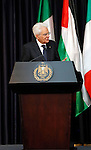 Italy's President Sergio Mattarella speaks during a joint news conference with Palestinian President Mahmoud Abbas in the West Bank city of Bethlehem November 1, 2016. Photo by Wisam Hashlamoun