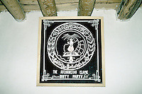 The emblem of the Hizb-e-Wahdat Islami in the Bamiyan office in 1995..Head of the Hizb-i-wahdat and spiritual and political leader of the Hazara people Mohammad Karim Khalili.Abdul Karim Khalili is son of Mohammad Aslam. Karim Khalili was born in 1329 H.S. (1950) in Qol-e-Khesh Behsud. It means, a part of Behsud district, province of Maidan. Today Abdul Karim Khalili is the current Leader of Hizb-e-Wahdat and Vice President of Afghanistan.
