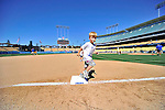 24 July 2011: Cole Carroll, son of Los Angeles Dodgers infielder Jamey Carroll, rounds third after a game between the Washington Nationals and the Los Angeles Dodgers at Dodger Stadium in Los Angeles, California. The Dodgers defeated the Nationals 3-1 to take the rubber match of their three game series. Mandatory Credit: Ed Wolfstein Photo