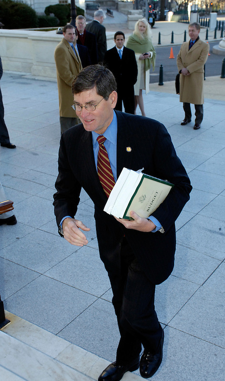 Jim Ryun (R-KS), Senior Member, House Budget Committee recives the President's FY 2007 Budget to the House of Representatives at Cannon House Office Building steps Monday morning..  .