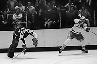 Toronto Maple Leafs goalie Doug Favell is upended,<br />Seals Al MacAdam (1975 photo/Ron Riesterer)