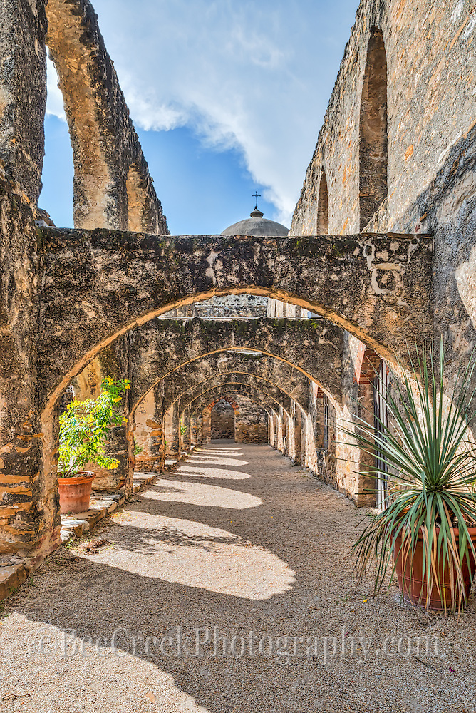 We capture this of the flying buttresses at the Mission San Jose in downtown San Antonio Texas.