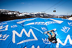 Aaron Mitchell lands in the Acrobag at the Stomping Grounds on Mammoth Mountain, Calif., January 28, 2011.