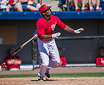 9 March 2014: Washington Nationals outfielder Michael Taylor in action during a Spring Training game against the St. Louis Cardinals at Space Coast Stadium in Viera, Florida. The Nationals defeated the Cardinals 11-1 in Grapefruit League play. Mandatory Credit: Ed Wolfstein Photo *** RAW (NEF) Image File Available ***