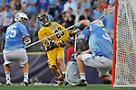 29 MAY 2011:  Tony Mendes (23) of Salisbury University unleashes a shot against Tufts University during the Division III Men's Lacrosse Championship held at M+T Bank Stadium in Baltimore, MD.  Salisbury defeated Tufts 19-7 for the national title. Larry French/NCAA Photos