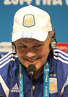 Argentina coach Alejandro Sabella smiles during the press conference