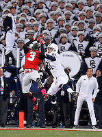 Ohio State Buckeyes defensive back Corey Brown (3) intercepts a pass intended for Penn State Nittany Lions tight end Adam Breneman (81) during the first half of the NCAA football game at Ohio Stadium in Columbus on Oct. 26, 2013. (Adam Cairns / The Columbus Dispatch)