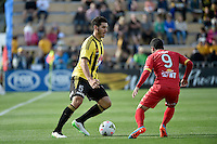Michael Boxall in action during the A League - Wellington Phoenix v Adelaide United at Hutt Recreational Ground, Lower Hutt, New Zealand on Saturday 7 March 2015. <br /> Photo by Masanori Udagawa. <br /> www.photowellington.photoshelter.com.