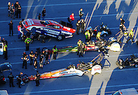 Jan. 20, 2012; Jupiter, FL, USA: Aerial view of the cars of NHRA top fuel dragster drivers Clay Millican (bottom), Terry McMillen (middle) and funny car driver Johnny Gray during testing at the PRO Winter Warmup at Palm Beach International Raceway. Mandatory Credit: Mark J. Rebilas-