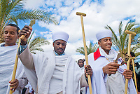 QASER EL YAHUD , ISRAEL - JAN 19 : Unidentified Ethiopian orthodox Christians  participates in the baptising ritual during the epiphany at Qaser el yahud , Israel in January 19 2012