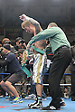 Yota Sato (JPN),.MARCH 27, 2012 - Boxing :.Referee Jack Reiss puts the champion belt on Yota Sato of Japan as he celebrates after winning the WBC super flyweight title bout at Korakuen Hall in Tokyo, Japan. (Photo by Hiroaki Yamaguchi/AFLO)