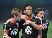 Lionard Pajoy (26) of D.C. United celebrates his score from a penalty kick with teammates. D.C. United defeated the The New England Revolution 3-1 in the Quarterfinals of Lamar Hunt U.S. Open Cup, at the Maryland SoccerPlex, Tuesday June 26 , 2013.
