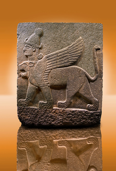 Picture & image of a Neo-Hittite orthostat describing the legend of Gilgamesh from Karkamis,, Turkey.Museum of Anatolian Civilisations, Ankara. A three headed Sphinx which is a winged lion with a human heas and a bird of prey's head on the end of its tail 2
