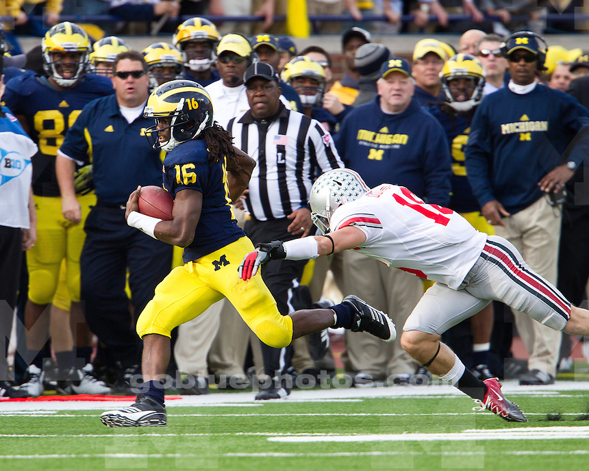 The University of Michigan football team beat Ohio State University, 40-34, at Michigan Stadium in Ann Arbor, Mich., on November 26, 2011.