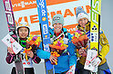 (L to R) Sara Takanashi (JPN), Hendrickson Sarah (USA), Iraschko Daniela (AUT),.MARCH 3, 2012 - Ski Jumping : FIS Ski Jumping World Cup Ladies in Zao, Individual the 11th Competition HS100 at Jumping Hills Zao,Yamagata ,Japan. (Photo by Jun Tsukida/AFLO SPORT) [0003]