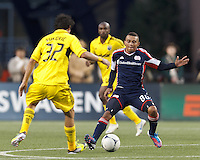 New England Revolution forward Fernando Cardenas (80) defends. In a Major League Soccer (MLS) match, the New England Revolution tied the Columbus Crew, 0-0, at Gillette Stadium on June 16, 2012.