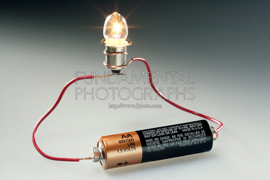 COMPLETING A SIMPLE CIRCUIT<br /> AA Battery 1.5 volts powers flashlight bulb<br /> The negative terminal of the battery pushes electrons towards the positive terminal which attracts the electrons. This current travels across the bulb filament where resistance causes filament to heat up and glow. Bulb is lit when circuit is completed.