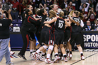 31 March 2008: Melanie Murphy, Ashley Cimino, Hannah Donaghe, Cissy Pierce, Kayla Pedersen, JJ Hones, Jayne Appel, Jeanette Pohlen, Candice Wiggins and Jayne Appel celebrate after Stanford's 98-87 win over the University of Maryland in the elite eight game of the NCAA Division 1 Women's Basketball Championship in Spokane, WA.