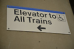 Sign for Elevator to All Trains at Merrick train station of Babylon branch, after MTA Metropolitan Transit Authority and Long Island Rail Road union talks deadlock, with potential LIRR strike looming just days ahead.