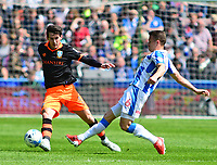 Sheffield Wednesday's Kieran Lee vies for possession with Huddersfield Town's Jonathan Hogg<br /> <br /> Photographer Andrew Vaughan/CameraSport<br /> <br /> The EFL Sky Bet Championship Play-Off Semi Final First Leg - Huddersfield Town v Sheffield Wednesday - Saturday 13th May 2017 - The John Smith's Stadium - Huddersfield<br /> <br /> World Copyright &copy; 2017 CameraSport. All rights reserved. 43 Linden Ave. Countesthorpe. Leicester. England. LE8 5PG - Tel: +44 (0) 116 277 4147 - admin@camerasport.com - www.camerasport.com