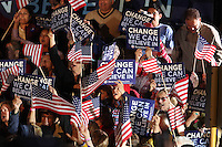 Fans cheer prior to Democratic presidential candidate Barack Obama's speech at a rally held on the night of the Texas primary election, March 4, 2008, in front of the Municipal Auditorium building in San Antonio, Texas. (Darren Abate/PressPhotoIntl.com)